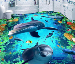 $enCountryForm.capitalKeyWord NZ - Custom Photo WallpaperDolphin floor tile street park three-diMural PVC Waterproof Self-Adhesive Bathroom Restaurant Kitchen Floor Sticker 3D