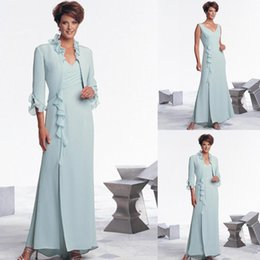 $enCountryForm.capitalKeyWord Australia - 2019 Chiffon Mother's Suit With Long Sleeves Jacket Dress Mother Of Bride Groom Wedding Party Gowns Evening Dresses For Mother Ruffles
