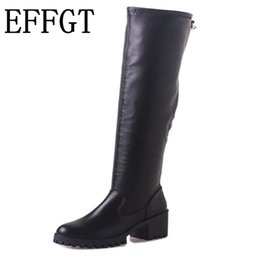 Comfortable Knee High Boots Australia - EFFGT Flat Heel the Knee Boots for Women Fashion Comfortable Thigh High Boots 2019 Winter Shoes Plus Size Black Grey V531