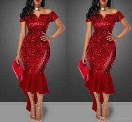 Short White Bling Dresses Australia - Shinning Red Sequined Prom Dresses Off Shoulder Short Sleeve Tea Length Cocktail Party Dress Sparkly Bling Bling Mermaid Hi Lo Evening Gowns