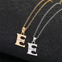 pendant letters gold 18k Australia - English Alphabet -E gold silver Family friend Name Letters Sign Word Chain Necklaces Tiny Initial Letter pendant Necklace jewelry