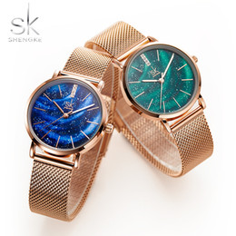 milan bracelet NZ - SHENGKE Women Fashion Rose Gold Bracelet Watches Starry Sky Dial Ladies Waterproof Wrist Watches Milan Stainless Steel Mesh Band