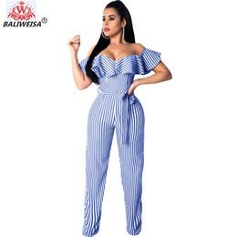 $enCountryForm.capitalKeyWord UK - Elegant Vertical Striped Print Jumpsuit Women Sexy Off Shoulder Ruffles Lace Up Bandage Jumpsuit Outwear Female Body Overalls