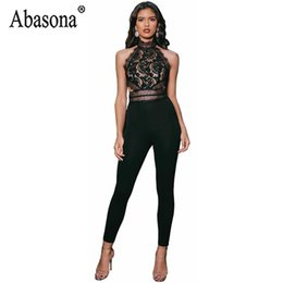 Black See Through Lace Jumpsuit Australia - Abasona Women Lace Black Jumpsuits 2019 Summer Sexy Backless Sleeveless Bodycon Jumpsuit See Through High Waist Sexy Club Romper
