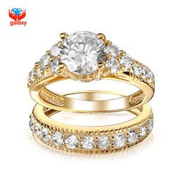 Tungsten Ring Women Cz Australia - Brand Luxury Ring Gold Filled Lovers Double Ring New Fashion Jewelry 2ct CZ SONA Engagement Rings For Women YH118 C18122801
