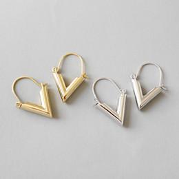 V shaped earrings online shopping - 925 Sterling Silver Drop Earrings New Simple Geometry V Shaped Dangle Earring For Student Women Fine Jewelry