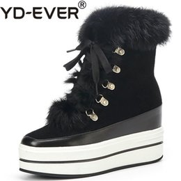 Lace yds online shopping - YD EVER Sexy Cow Suede Women Rivets Ankle Boots Wedges High Heels Warm Winter Shoes Woman Lace Up Snow Boots Ladies
