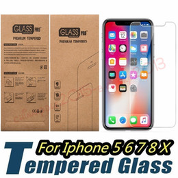 Kraft Box 6.5 Australia - Tempered Glass Screen Protector 0.26mm 2.5D Film for iphone 5 6 7 8 Plus X XR XS Max samsung s6 s7 s8 s9 smart phone kraft box