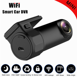 mini sensor camera recorded UK - Freeshipping Mini WIFI Car DVR 720P Camera Digital Registrar Video Recorder DashCam Road Camcorder APP Monitor Night Vision Wireless DVR