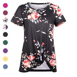 ef5804174dd Color sólido Camisetas de manga corta Tops Cuello Redondo Botton Nudo  Camiseta Camisetas Diseñador Verano Ropa Mujer 220114
