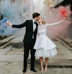1811c29243d Long Sleeve Short White Wedding Dresses Bridal Gown 2019 Jewel Knee Length  Tiered Garden Country Bridal Gowns robe de mariée Plus Size Cheap