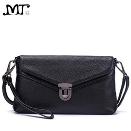 Ostrich Leather Clutch Bag Australia - MJ Brand Women Handbag Fashion Genuine Leather Envelope Day Clutch Female Flap Messenger Bag Small Buckle Crossbody Shoulder Bag