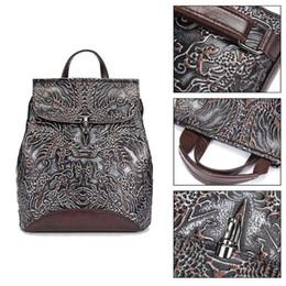 Styles Backpacks Australia - Women Genuine Leather Embossed Backpack National Style Daypack School Bag Travel Casual Rucksack