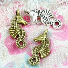 Beadwork  pendant 19x11X9mm 8pcs Sea horse Beads silver tone Hippocampus bead