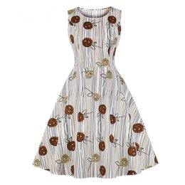 Chinese  Summer Women Sleeveless O Neck Rose Flower Striped Printed Casual Rockabilly Tunic Vintage Retro Skater Pin up Knee Length midi dress manufacturers