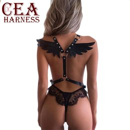winged tops Canada - CEA.Harness Gothic Sexy Crop Top Wing Harness Belt Bridal Garters Belts Women's Lingerie Sex Body Costumes Goth Punk Waist Belt