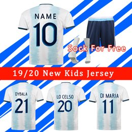 kid argentina messi jersey NZ - 2019 Women Argentina Soccer Jersey Copa America 2020 Men Kids Kit MESSI DYBALA HIGUAIN ICARDI Camisetas de futbol football Soccer Shirt Kit