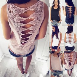 Cotton Knit Tunics Australia - Summer Female Shirts Sleeveless Womens Tops and Blouses O-Neck Backless Lace Stitch Knitted Blouse Casual Tunic