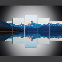 $enCountryForm.capitalKeyWord UK - 5 Piece Large Size Canvas Wall Art Pictures Creative Mountain Lake Reflection Landscape Art Print Oil Painting for Living Room Decor