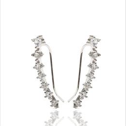 $enCountryForm.capitalKeyWord UK - 7 Crystals Ear Cuffs Hoop Climber S925 Sterling Silver Earrings Hypoallergenic jewelrys Earring silver,rose gold by DHL