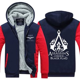Wholesale assassin s creed jackets xl resale online – Assassins Creed Black Flag Hoodies Winter Men Wool Liner Zipper Jacket Thicken Sweatshirts Coat Pullover With Pockets Tops USA EU Size