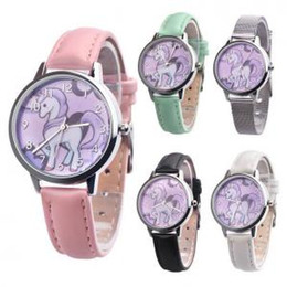 Teenagers waTches online shopping - Unicorn Watch Children s Watch Cartoon Kids Girl Leather Wristwatch business student teenager Gift fashion party favor FFA1501