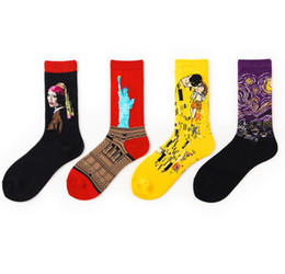 Camp Painting Australia - Oil Painting art socks women men cotton harajuku style famous painting sock van Gogh Mona Lisa da Vinci funny Socks Vintage