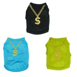 T Shirt Necklace UK - 3 Colors Dollars Necklace Pet Dog Shirt Small dog t shirt Dog Cats Clothing Spring Summer Clothing Chihuahua Teddy Vest High Quality