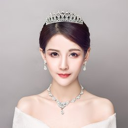 $enCountryForm.capitalKeyWord NZ - Clear Rhinestone Wedding Jewelry Set Fashion Korean Women Necklace Earrings Bijoux Princess Bridal Tiara Headdress Ornament Gift