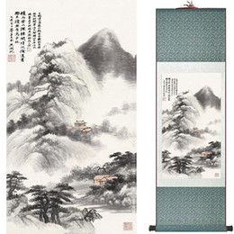 Chinese Floral Paintings Australia - Mountain And River Painting Home Office Decoration Chinese Scroll Painting Landscape Art Painting1906101553