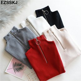 $enCountryForm.capitalKeyWord Australia - casual Zipper Sweater Women Turtleneck Solid spring autumn female Knitted sweater Pullovers long Sleeve chic Soft Jumper top