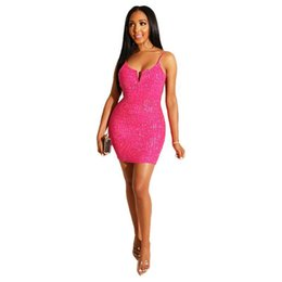 77a2c761 Glitter Sequined Sexy Party Club Dress Women Spaghetti Strap Sleeveless  Bandage Mini Dress Summer V Neck Open Back Sheath Dress