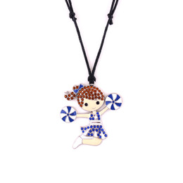Pendant Jewerly Australia - Huilin wholesale black wax rope necklaces and cute cheerleaders girl with jewelry necklace with multicolor crstle jewerly pendant for gift