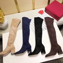 $enCountryForm.capitalKeyWord Australia - Hot Sale- fashion high silk suede suede over the knee boots black coffee champagne color blue blue slim party with thick heel boots