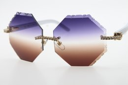 White Shorts Australia - Wholesale vintage Sun Glasses Hot 4189706 Rimless Diamond White Arms Sunglasses Hot Cat eye Unisex Stone Glasses Carved Purple Brown Len New