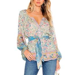 c7e1bb7cecb BOHO Inspired Button-Up blouse floral peacock print long puff sleeve O-neck  casual top Spring summer 2019 blouse shirt women