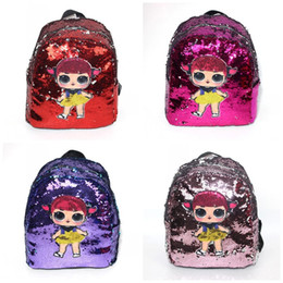 Wholesale Cartoon Doll Printing Bag Mermaid Sequin Both Shoulders Backpack Girl Outdoor Storage Wrap Leisure Purple Pink Bardian xc C1