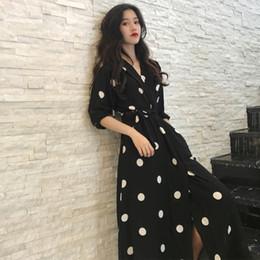 New Korean Ladies Summer Dress Australia - Superaen Summer Women's Korean Style Fashion V-neck Ladies Long Casual Half Sleeve Dot Dress Female New 2018 Q190417