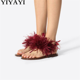 $enCountryForm.capitalKeyWord Australia - Runway Claret Flat Sandals Ostrich Hair Summer Shoes Fashion Flip-Flops Casual Shoes Woman Beach Summer Sandals Chaussures Femme