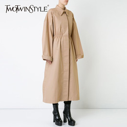 Wholesale high collar trench for sale - Group buy TWOTWINSTYLE Khaki Trench Coat Female Lapel Collar Long Sleeve High Waist Long Windbreaker Women Spring Casual Fashion