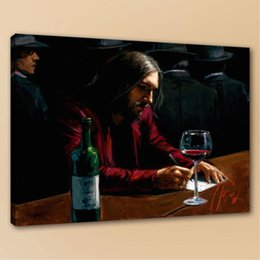 Bar Paintings NZ - Man at the Bar Of Fabian Pere High Quality Handpainted & HD Print Figure Portrait Art Oil Painting On Canvas Wall Art Home Deco
