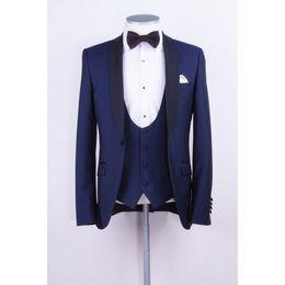 Images Fashionable Suits Australia - Fashionable One Button Groomsmen Shawl Lapel Groom Tuxedos Men Suits Wedding Prom Dinner Best Man Blazer(Jacket+Pants+Tie+Vest) 524