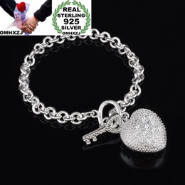 $enCountryForm.capitalKeyWord NZ - OMHXZJ Wholesale Personality Fashion OL Woman Girl Party Gift Silver Heart Charm Thick Chain 925 Sterling Silver Bracelet BR76