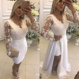 Short Lace Dress Long Sleeves Australia - White Lace Short Prom Dresses With Detachable Skirt Pearls V-Neck Illusion Long Sleeve Formal Evening Party Gowns 2019 Hot Selling New P041