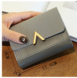 Discount silicone wallets ladies - Solid Leather Small Women Wallet Mini Ladies Metal V Purses Short Female Coin Purse Credit Card Holder Wallets for Women