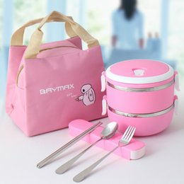 Green Box Containers Australia - Lunch Box For Kids School Children 304 Stainless Steel Food Container Plastic Bento Box Thermal Lunchbox Cartoon Accessories D19010902