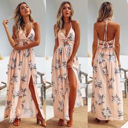 Wholesale womens sundresses resale online – Womens Summer Boho Maxi Long Dress Evening Party Beach Chain Dresses Sundress Floral Halter Dress Summer Hot Sale