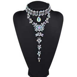 $enCountryForm.capitalKeyWord NZ - 2017 New Design Ab Multicolor Rhinestone Collar Choker Necklace Women Maxi Necklace Flowers Pendant Fashion Jewelry Wholesale J190610
