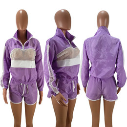 Football Ribbon Australia - Women Patchwork Sheer Mesh Tracksuit Zipper Jacket Top + Shorts Outfit Jumpsuits Track Suit Summer Wind Breaker Sports Jogger Suit C41503