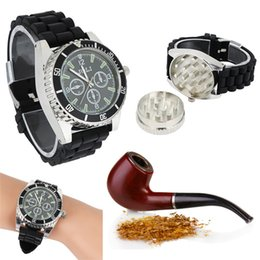 Tobacco grinder waTch online shopping - Creative Watch Molding Tobacco Grinder mm Zinc Alloy Herb Grinder Spice Cigarette Crusher Smoking Pipe Accessories